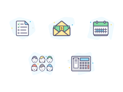 Benefits Icons color illustrations icons