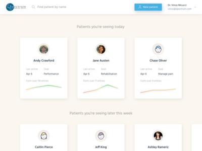 Therapist Portal health listing ipad ui