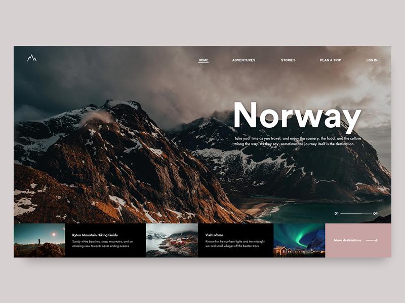Norway hiking nature uiux design uxdesign webpage uidesign nordic norway travel uiuxdesign web website webdesign userinterface minimal and clean minimal design