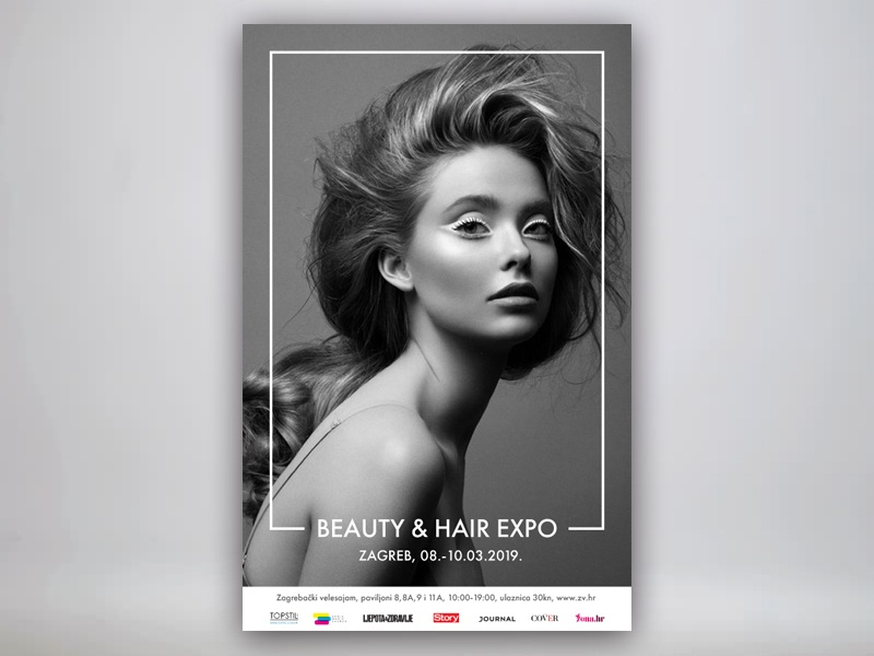 Beauty & hair expo event poster bnw graphic design hair expo beauty poster design design minimal design poster minimal and clean
