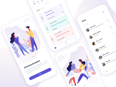 Scheduling App onboarding screens schedule chat multicolored illustration planning communication calendar messaging app messager message scheduling mobile app