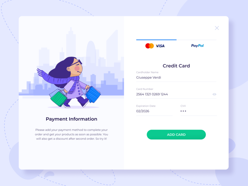 Payment Card Shot banking payment form custom credit card credit card checkout paypal visa credit card design ui tabs tab illusrtation field form web payment method form field card pay payment