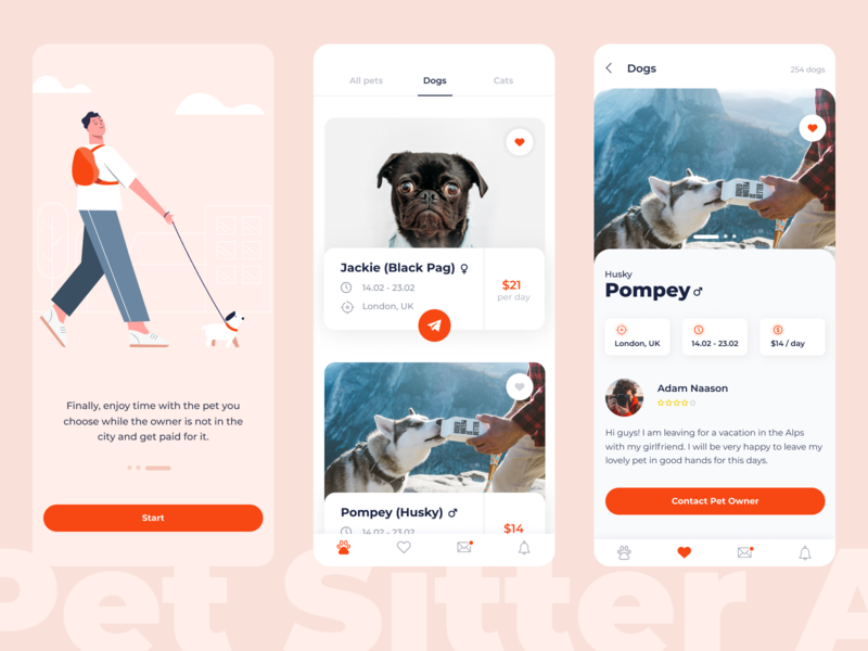Pet Sitter App tabs rating rate price pet app onboarding mobile location icons how it works dogs design dates colorful cats button app animal