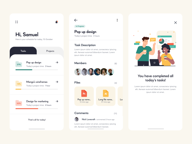 Task Management App figma illustrator photoshop projects notifications members comments tasks work job files pop up management app green red yellow menu design app mobile