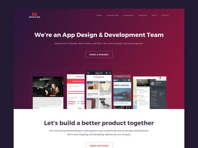 Introducing Infinite.Red — Version 2.5 red gradients product design agency web design ux ui redesign web design