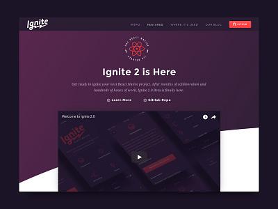 Ignite 2 - Website Redesign ignite minimal clean branding websites apps ux gradients responsive ui web
