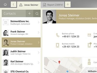 contact ui ipad ios app contact clean flat design interface cms tablet ui