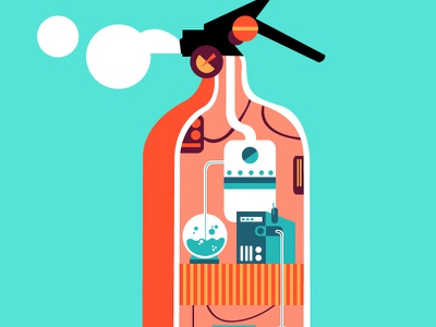 Fire Extinguisher factory illustration graphic design green orange pink sketch