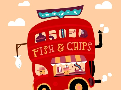 Fish & Chips london bus fish chips red yellow pink illustration graphic design sketch