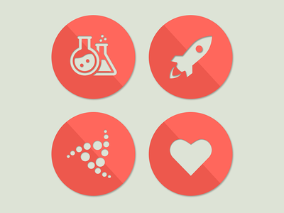 Material Design Icons ui ux yonego experiment heart rocket icons red material design