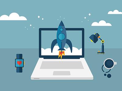Rocketstart Your Day vector illustration macbook smartwatch rocket blue green desk