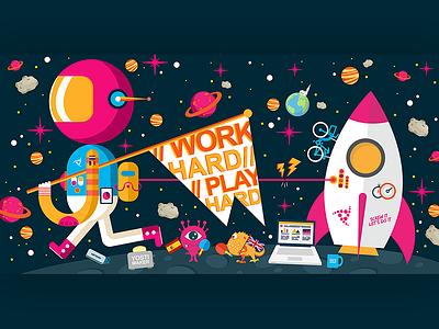 Office Art @ Yonego HQ art office illustration galaxy purple rocket spaceman space