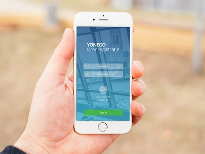 Yonego App ui ux iphone yonego touch id fingerprint user interface app