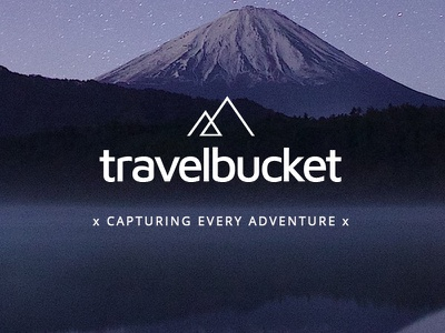 Logo Travel Bucket adventure mountains vector traveling clean minimal logo