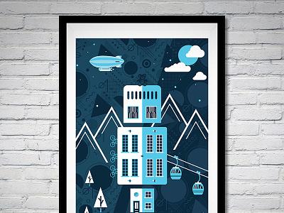 Lightning Life print lightning blue illustration design artwork art vector