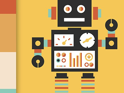 Robot Character Design dark yellow robot character design illustration animation