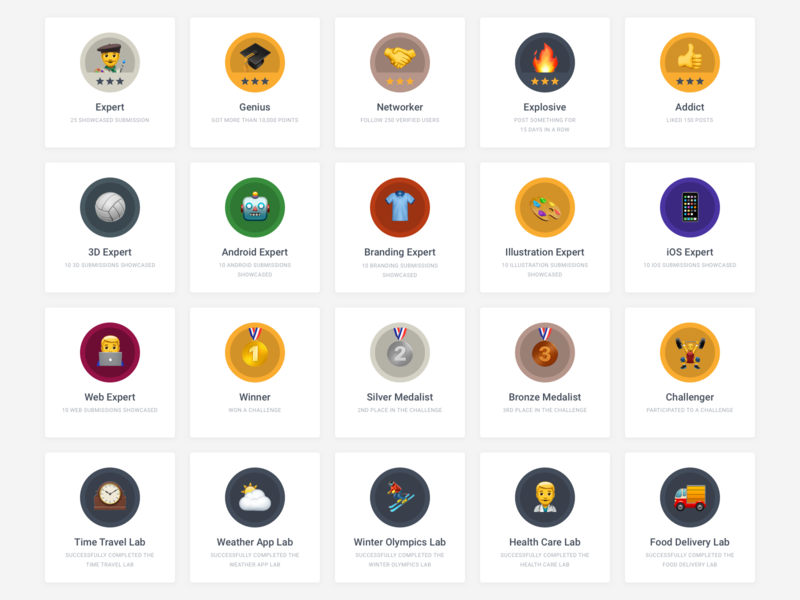 Uplabs : Badges gamification badges uplabs web web desgin designer product clean minimal users