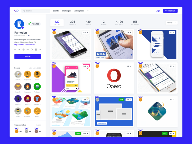 Uplabs : Profile user portfolio profile medal minimal clean product designer web desgin web uplabs badges gamification