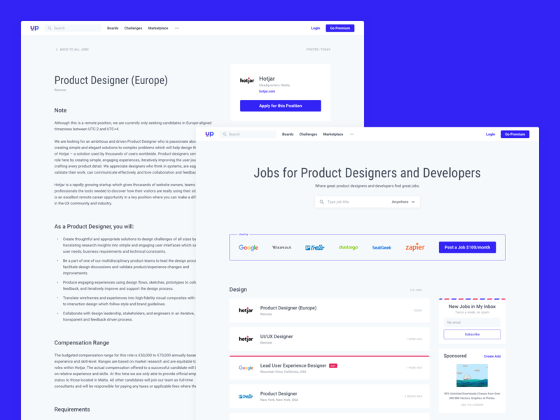 Uplabs : Jobs developer website hiring job portfolio minimal clean product designer web desgin web uplabs gamification integration social like dribbble