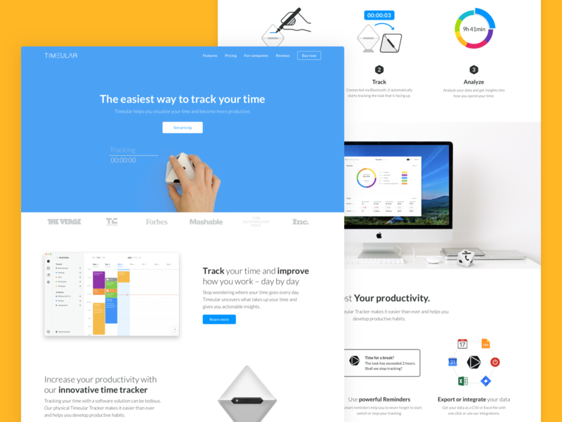 Timeular : Homepage illustration device homepage home product clean minimal web web desgin website ui ux productivity simple time tracker tracker app