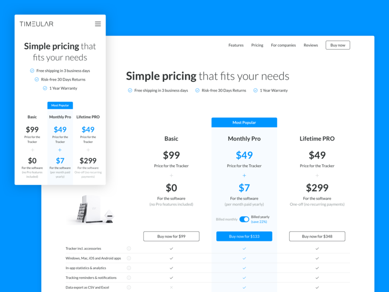 Timeular : Pricing page product clean minimal web web desgin website ui ux productivity pricing simple time tracker tracker app