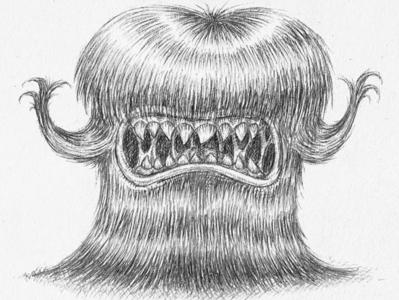 Hairy Monster chibbi gloomy hairy monster dark syle roman dirge jhonen vasquez moebius tim burton black character design pencil characterdesign monsters kaamuz blackandwhite monster tattoo cartoon hairy