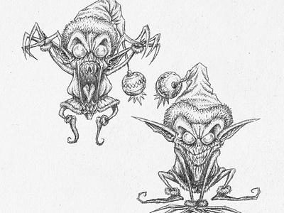 Elves character design characterdesign kaamuz tim burton illustration drawing black blackandwhite tattoo cartoony cartoon monsters cute monster elf elves