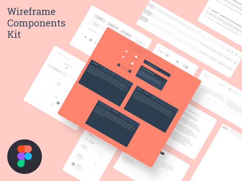 Wireframe Components Kit for Desktop figma grayscale wireframe low fidelity ux web ui
