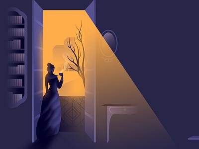 Mrs Dolloway window light retro vintage noir illustration glow vector affinitydesigner futuristic
