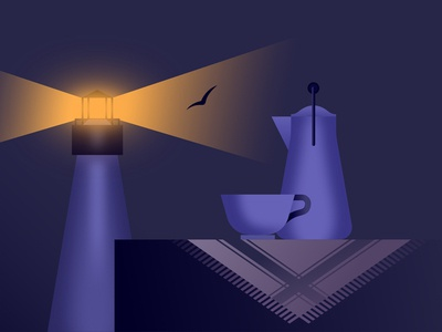 Cofee As Companion noir light lighthouse cofee illustration futur vintage glow retrowave affinitydesigner neon futuristic