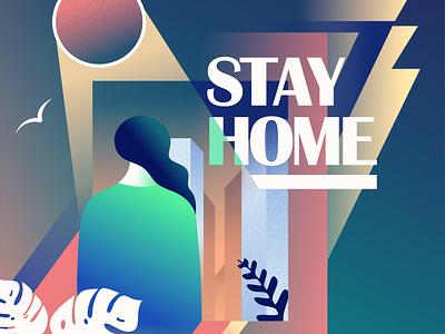 Stay Home geometric art deco retrofuturism illustration vector retrowave affinitydesigner futuristic neon
