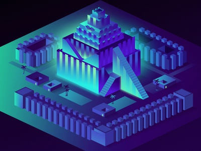 Tower of Babel cyberpunk isometric outrun future 80s glow vector retrowave affinitydesigner futuristic neon