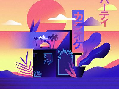 Arcade color vivid outrun futur illustration glow vector retrowave affinitydesigner futuristic neon