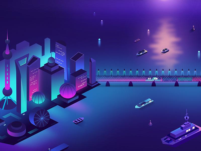 Neon City 2 isometric china cyberpunk affinitydesigner illustration vector futuristic neon