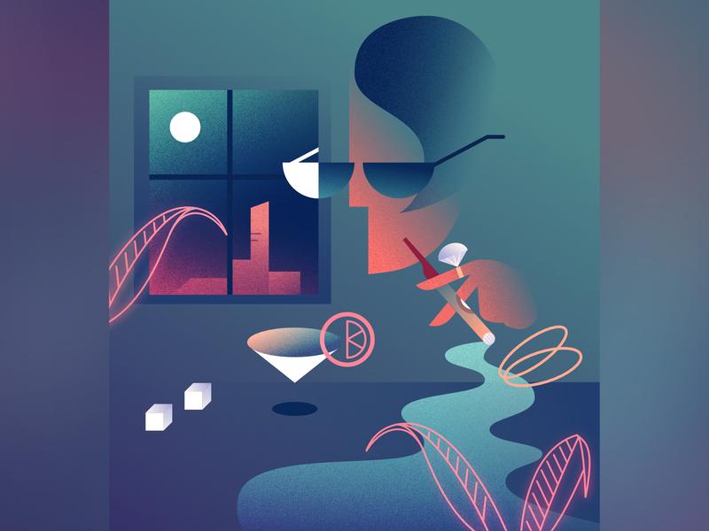 Night Scene retrofuturism outrun 80s retrowave illustration vector glow affinitydesigner futuristic neon art deco