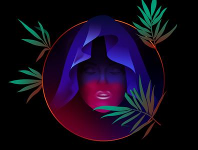 Sorcerer magic face giallo retrofuturism vector retrowave affinitydesigner futuristic neon