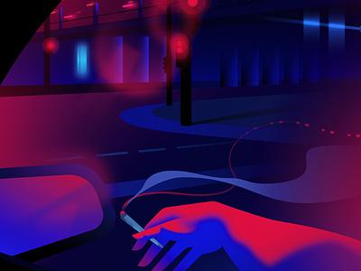 Night Cruising vector outrun retrofuturism retrowave affinitydesigner futuristic neon