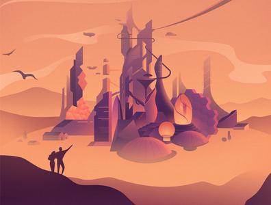UTC Poster steampunk desert vector retrofuturism architecture city cityscape retrofuturistic neon futuristic