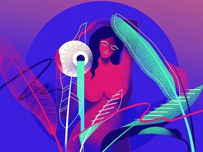 Aquarius female aquarius retro flat retrofuturism illustration glow vector retrowave futuristic neon