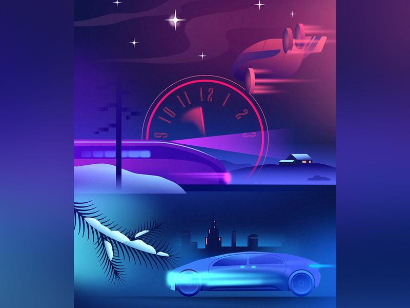 Happy New Year cyberpunk retrofuturism future illustration glow vector retrowave affinitydesigner futuristic neon