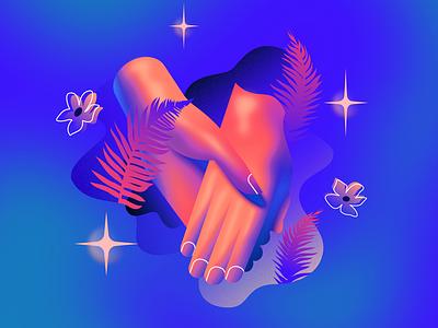 Hand In Hand 80s airbrush 3d outrun retrowave retrofuturism illustration vector affinitydesigner futuristic neon