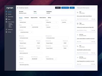 ryver CRM dashboard data dashboard crm design web product web design ux ui