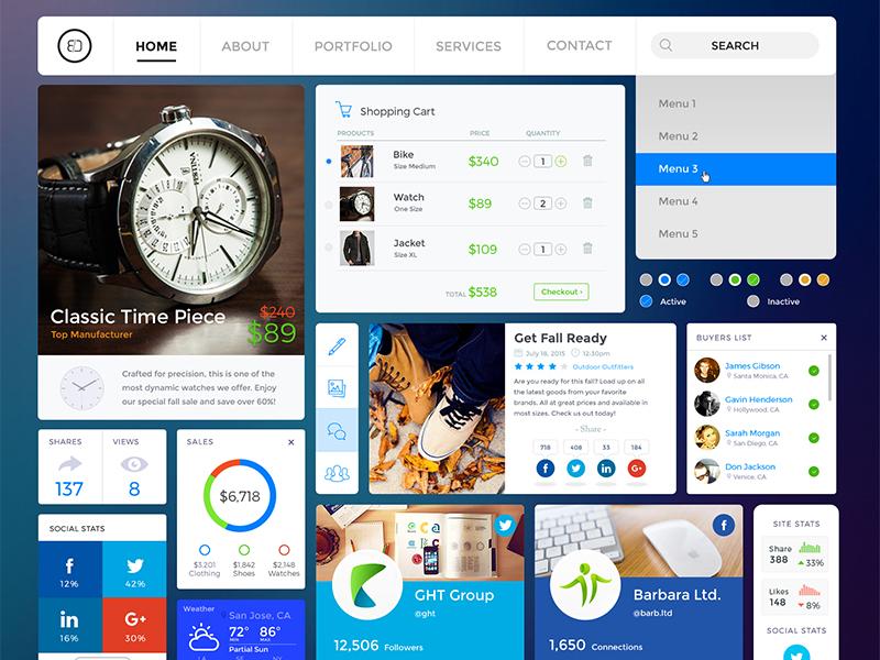 Shopping / Social UI Kit • Download Link navigation green shopping cart charts graphs stats social buttons retina web graphic pack ui kit