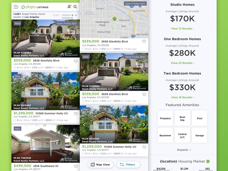 Ylopo Mobile product design vector mobile web ui design real estate agency realtor home app real estate ux ui