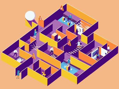 Maze maze design isometric vector illustration