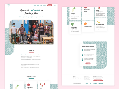 A landing page for the first food coop in Lisbon landing page product design
