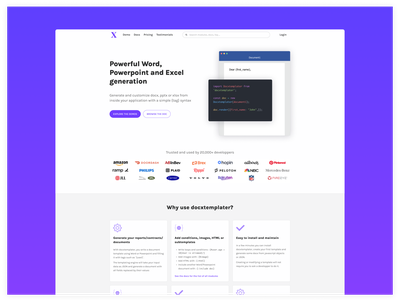 Landing page for a tech product landing page