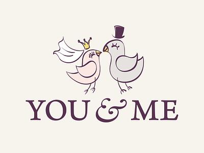 You & Me bridal salon logo love veil pigeon cilinder suit wedding dress bridal identity branding type mark logo