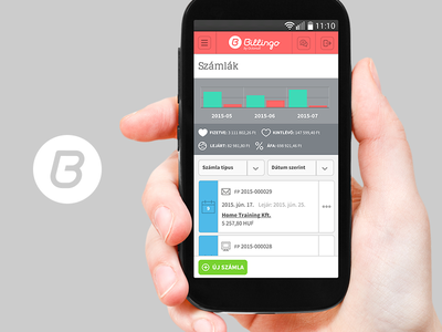 Billingo Mobile Invoicing app stat list ui hand mobile invoice invoicing online billing billingo