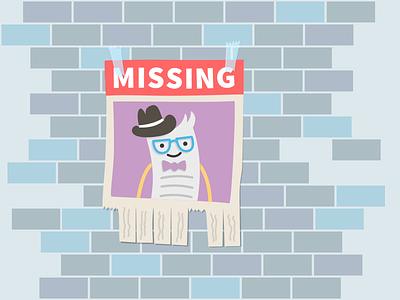 Billy Missing 404 billingo online billing error 404 not found illustration tape brick wall tab friendly character